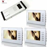 YobangSecurity 7 Apartment Video Intercom Door Phone Doorbell System IR Camera Touch Key For 3 family