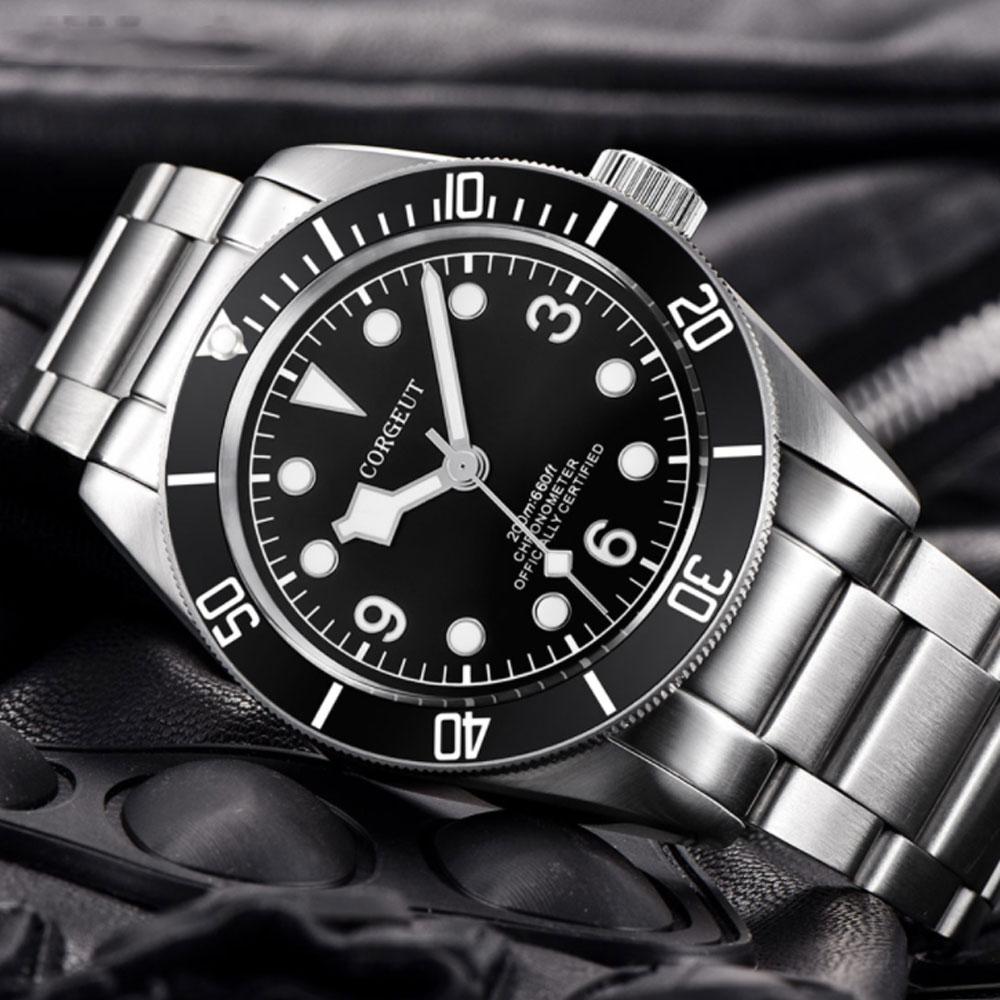 41 มิลลิเมตร Corgeut สีดำ Dial ส่องสว่างเครื่องหมายไพลินแก้วโรแมนติก Sweet Luxury การเคลื่อนไหวอัตโนมัติ Miyota นาฬิกาผู้ชาย-ใน นาฬิกาข้อมือกลไก จาก นาฬิกาข้อมือ บน   2