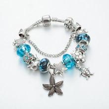 Annapaer novo estilo oceano golfinhos charme pulseiras para as mulheres moda roxo contas de vidro pulseiras & pulseiras diy jóias b16023