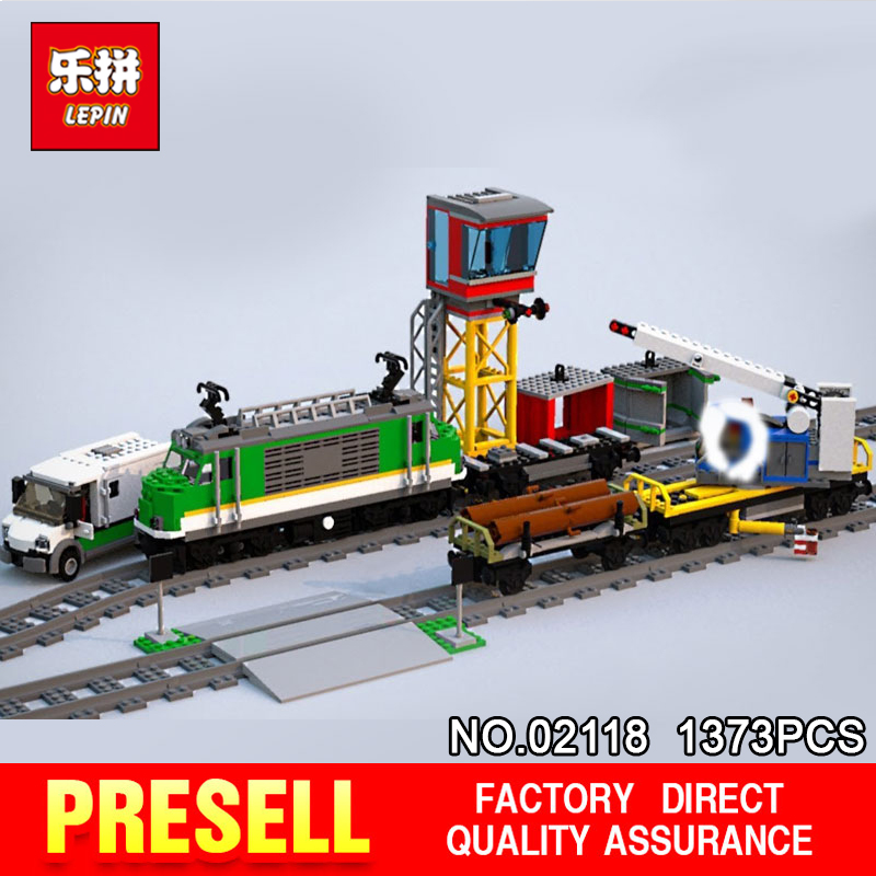 Lepin 02118 City Series Cargo Train Compatible The 60198 Building Blocks Bricks Educational Power Up RC Toys With Battery B 2018 lepin 02118 city series rc cargo train set compatible legoinglys 60198 city train building blocks bricks toys for children