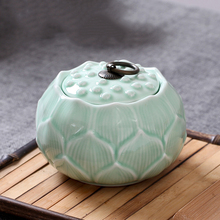 Jingdezhen Ceramic Lotus Shape Tea Jar Canister Gift Sealed Tank Shining Shadow Blue Glaze Caddy Storage Jar