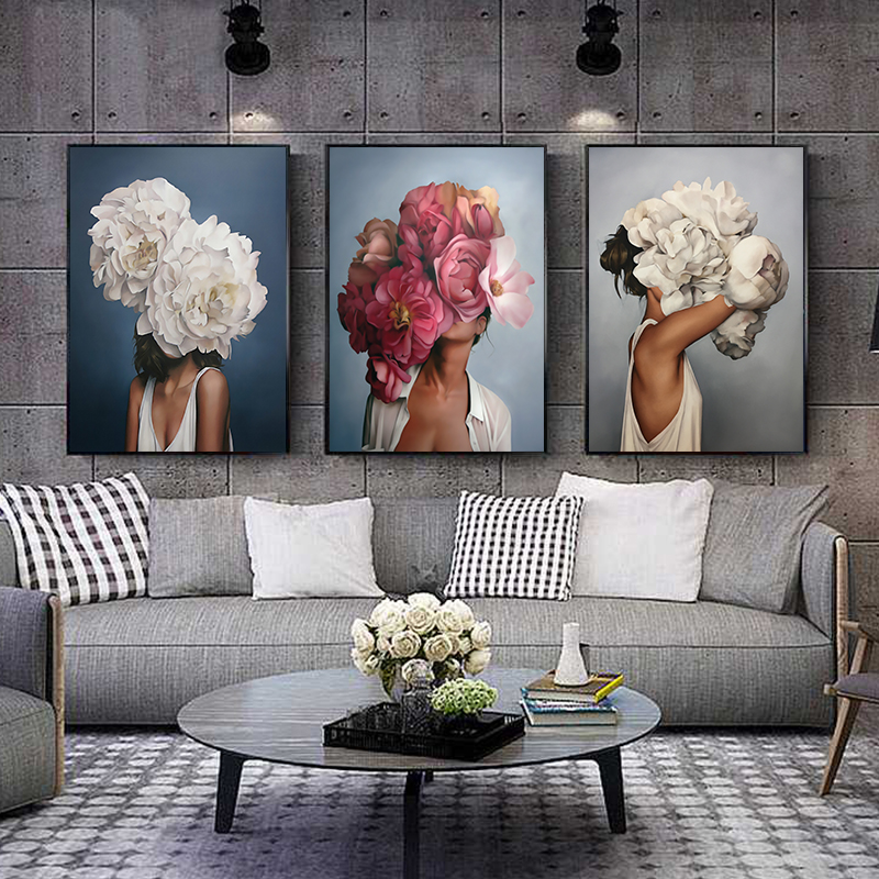 HTB1nr.vUMHqK1RjSZFEq6AGMXXaV Flowers Feathers Woman Abstract Canvas Painting Wall Art Print Poster Picture Decorative Painting Living Room Home Decoration