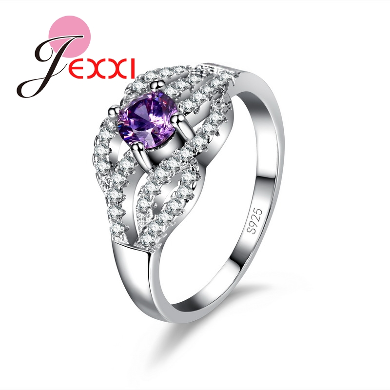 JEXXI Women Luxury Wedding Engagement Shiny Rings Ladies 925 Sterling Silver Fashion Jewelry Purple CZ Finger Ring Gift