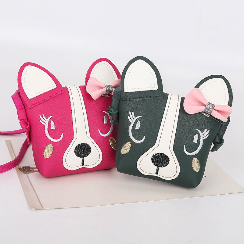 New Cartoon Children's Coin Purse Cute Bow Dog Mini Shoulder Messenger Bag Baby Girls Lovely Wallets Kid Gift Princess Handbags