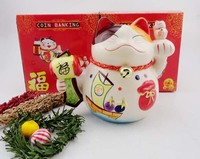 Crafts Arts Home Decoration Shipping 8 Inch Lucky Cat Opened Shop Decoration Ceramic Creative Gifts Lucky