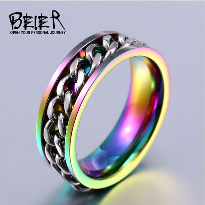 Beier 316L Stainless Steel ring for men/womenNew Part Plated-Gold/Black Mans Cool Spin Chain Ring BR-R065