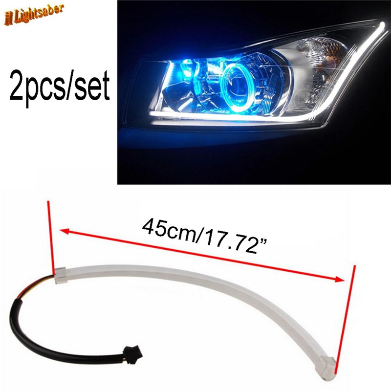 Car Lights 60cm Led Drl Diy Flexible Daytime Running Light Soft Article Lamp Tube Car Styling Strip Automobiles Waterproof 2pcs
