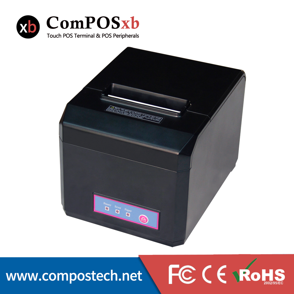 USB Interface 80mm Thermal font b Printer b font With Cutter Large Diameter Roll And 1D