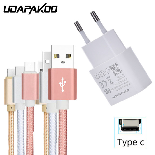 EU Charger and USB Type C Charging Wire for Samsung S8 S9 Plus Note 9 Lenovo Z5 S5 Huawei P20 Pro Nova 3 Vivo Nex OPPO Find X