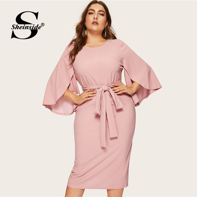 Sheinside Plus Size Split Sleeve Midi Dress Women 2019 Spring Elegant Solid Zip Back Pencil Dress Ladies Belted Trim Dresses