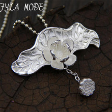 FYLA MODE Seedpod Of The Lotus Lotus Leaf Necklaces & Pendants For Women Vintage Style Lady 925 Sterling Silver Jewelry TYC249