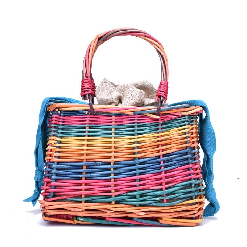 2019 Cute Rattan Bag Square Straw Bags For Women Summer Holiday Beach Bag Woven Basket Handbag Bohemia Handmade