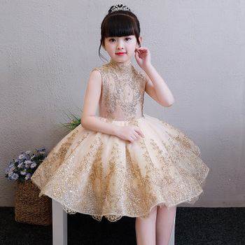 Elegant Golden Tulle Flower Girl Dress Party Kids Pageant Gown Princess Wedding Sleeveless First Communion Dresses 1-14T - discount item  32% OFF Children's Clothing