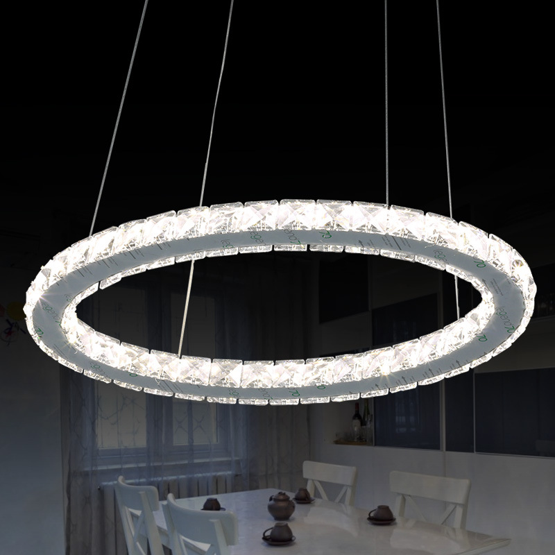 Crystal Pendant Light Circle Suspension Dining Room Hanging Lamp Diamond Ring LED lights Cristal Lustre de sala lighting WPL085 ремешок цепочка john richmond ремешок цепочка