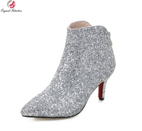 New Popular Women Ankle Boots Sexy Sequined Cloth Pointed Thin Heels Boots Nice Black Silver Red