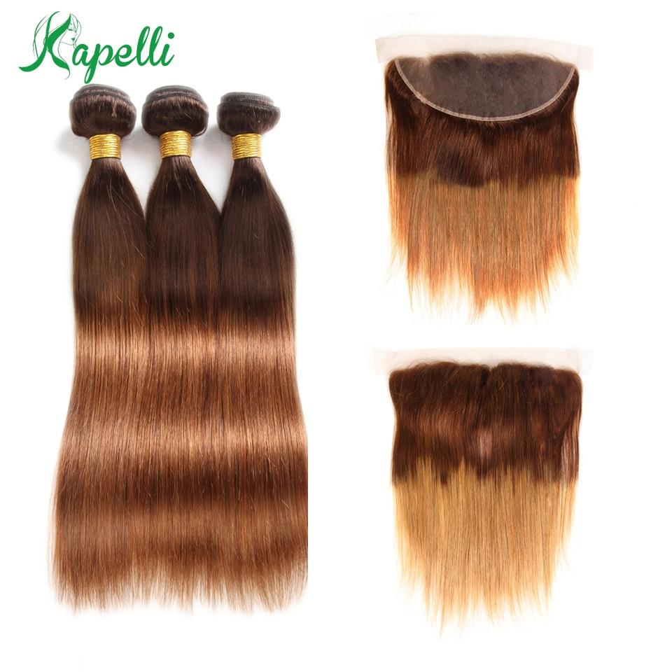 Ombre pacotes com frontal cabelo reto brasileiro 3 pacotes loira com fecho 13x4 feixes de cabelo humano não remy tecer cabelo