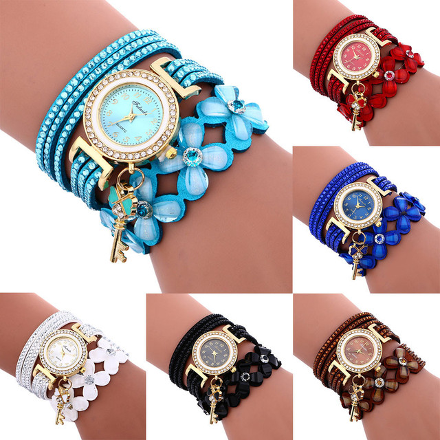 2018 Hot Fashion Luxury Brand Hot Women Rhinestone Bracelet Watch Pu Leather Floral Strap Ladies Quartz Casual Wristwatch