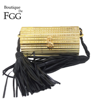 Boutique De FGG Black Tassel Dollars Clasp Women Acrylic Box Clutch Evening Bags Ladies Small Shoulder Handbags Crossbody Bag