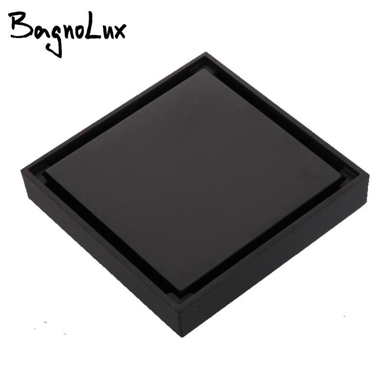 Carré Anti-odeur grilles de déchets de sol 100X100 Drain de douche noir salle de bain carrelage de vidange Insert 100% laiton accessoire de salle de bain