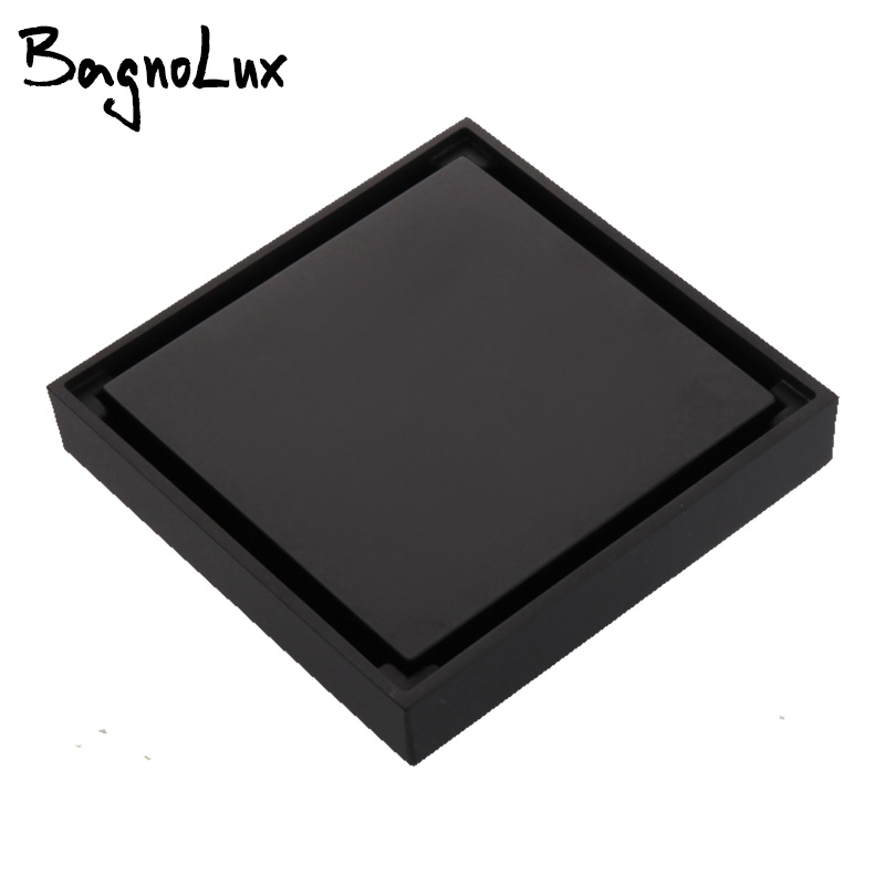 Square Anti-odor Floor Waste Grates 100X100 Shower Drain Black Bathroom Floor Drain Tile Insert 100% Brass Bathroom Accessory