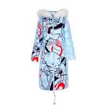 New winter coat female Korean long  knee still printing Jacket Nagymaros collar down padded weatherization Thicken Parka