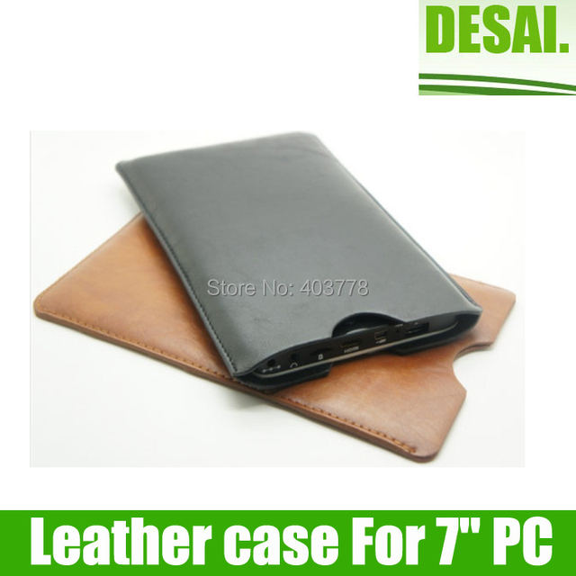 """Free shipping  Brown/black 7"""" Leather bag/case for 7inch Tablet PC"""