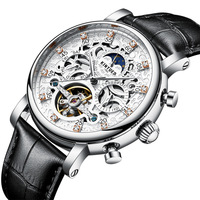 Kinyued Skeleton Tourbillon Mechanical Watch Automatic Men Classic Male Gold Dial Leather Mechanical Wrist Watches J026P