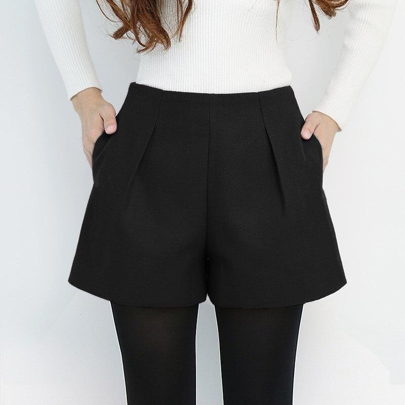Autumn Winter Woolen Shorts Women Loose Wide Leg High Waist Zipper Shorts Feminino Classic Casual Thicken Plus Size Short Femme
