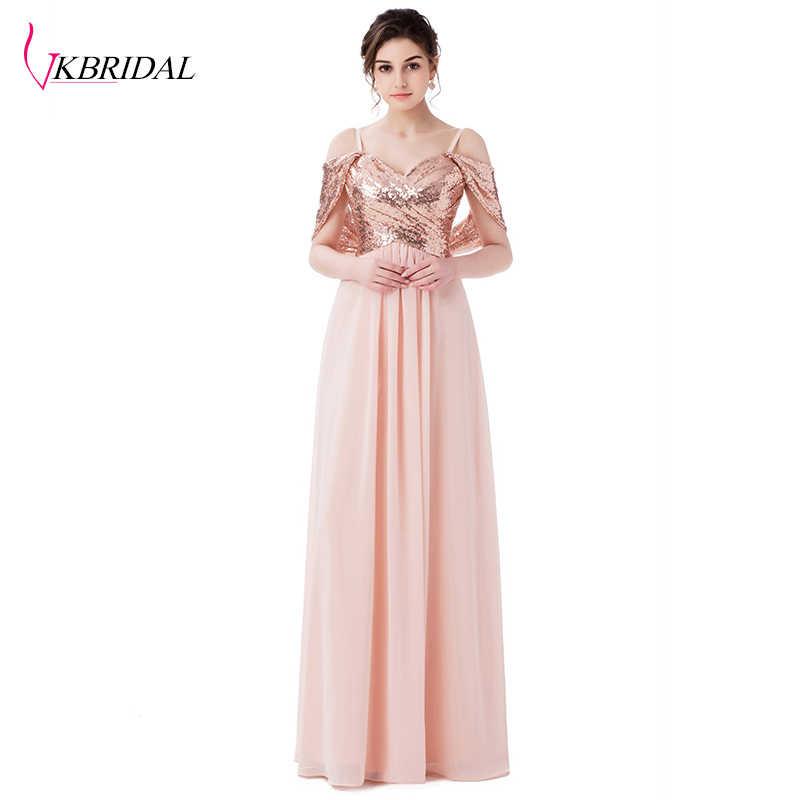 9ce53cec2ff VKBRIDAL Elegant A Line Sweetheart Sequined Convertible Long Bridesmaid  Dress vestido de festa Abendkleid Party Birthday