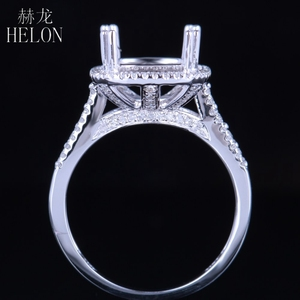 Image 3 - HELON Solid 14K White Gold 11X9MM Cushion/Emerald/Radiant Real Natural Diamonds Engagement Wedding Jewelry Semi Mount Ring