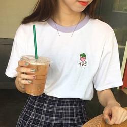 2019 New Kawaii Strawberry Embroidery Tshirt Colorful Neck Cute Tshirt Womens tee Tops Korean Ulzzang Cute Fruit Cotton T Female 3