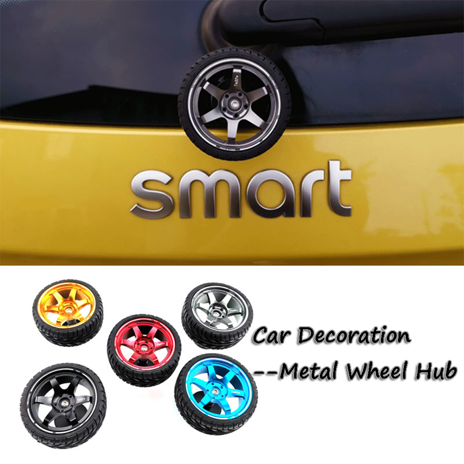 5 Color Funny Car stickers Instagram Metal Wheel Hub Car Ornament Auto <font><b>Accessories</b></font> for <font><b>smart</b></font> 450 <font><b>451</b></font> <font><b>Smart</b></font> 453 <font><b>Fortwo</b></font> Forfour image