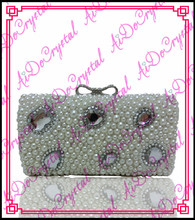 Aidocrystal glitter white diamonds ladies clutch bag and matching slip-on high heeled shoes for party