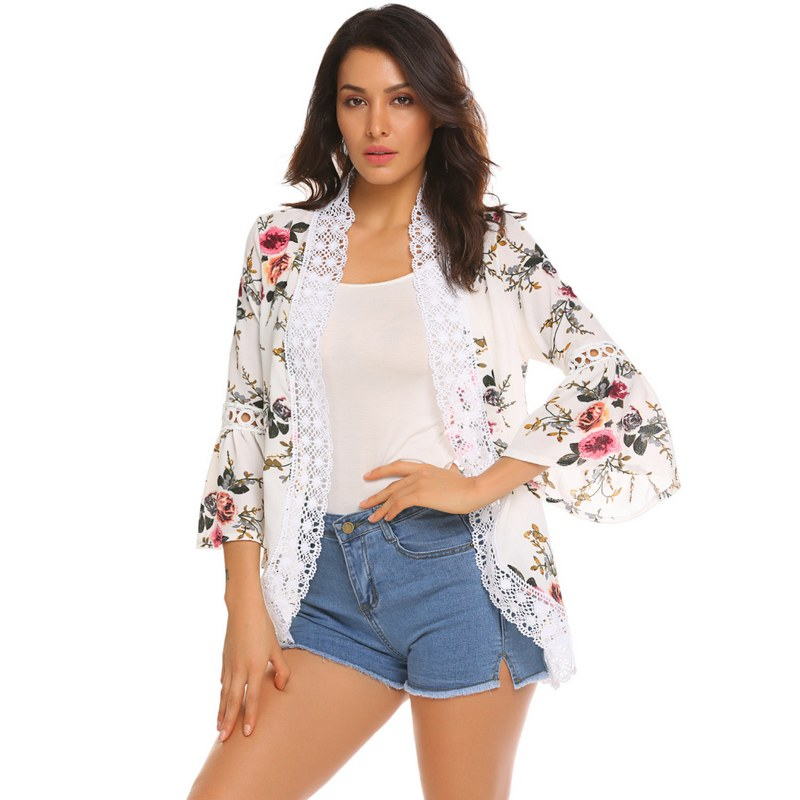 Tengeio Women Floral Chiffon Kimono Jacket Cardigan Casual Long Sleeve Lace-Trimmed Open Front Tunic Blouse Blusa Feminina YSK10