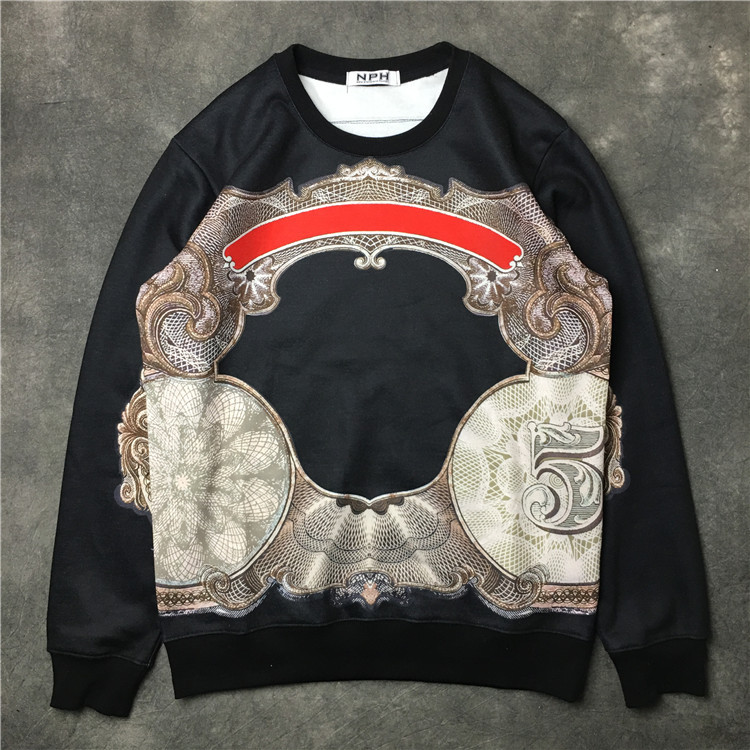 New 2017 Baolideng Men MLuxury palace abstract Hoodies Hoody hooded Sweatshirts velvet Cotton Drake Thicken Fleece #E41