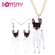 Bonsny Acrylic Decoration Sets Cute Fox Toy Terrier Necklace Earrings Fashion Pet Jewelry For Women Girls Lovers Gift Decoration(China)