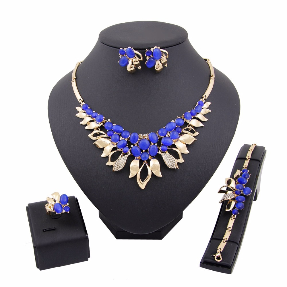 2017 New African Luxury Crystal Pearl Jewelry Sets Gold Colour Jewelry  Wedding Bride Dubai Style Fashion