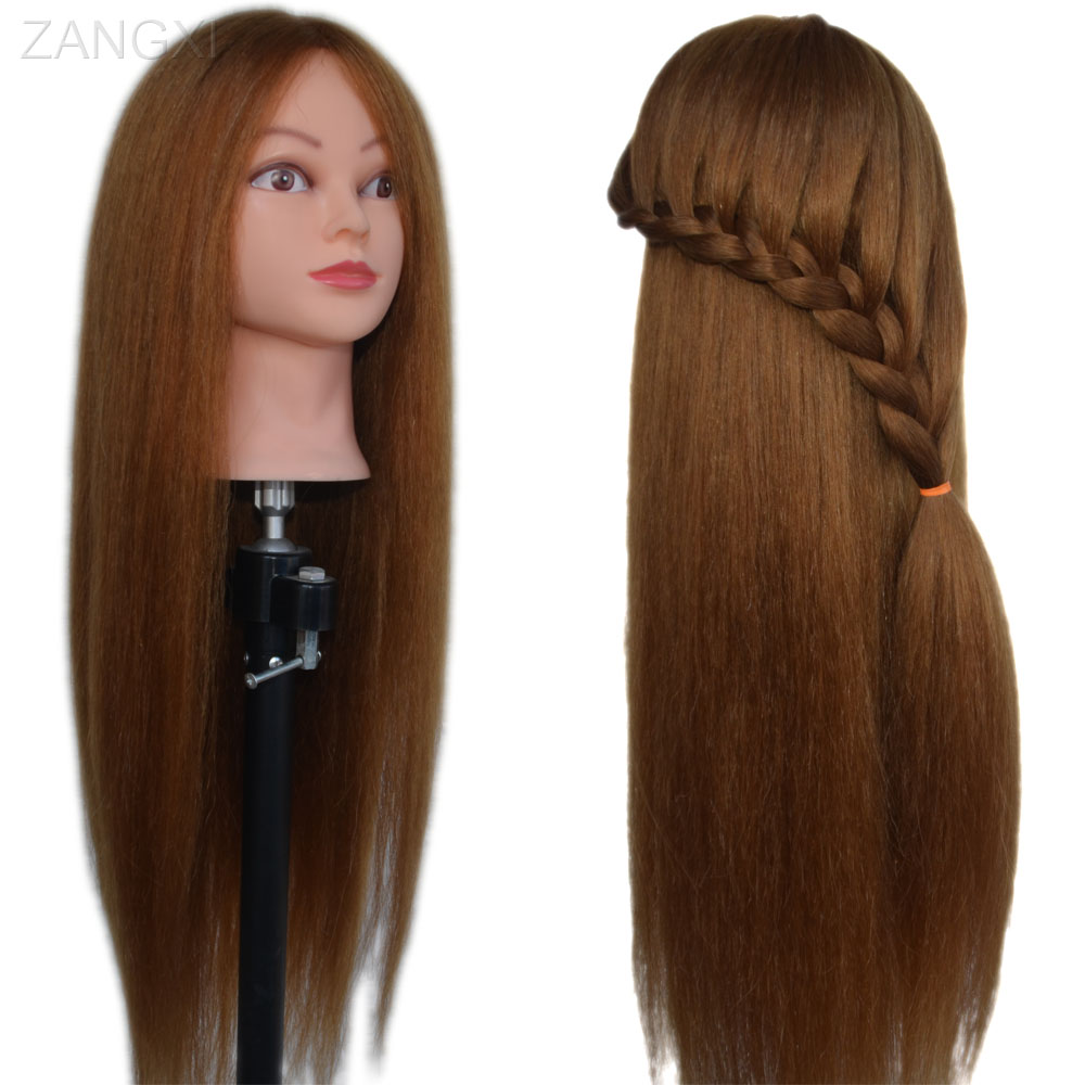 28″ Long Mannequin Head With Hair Nice Maniquies Women Manikin Dummy Head Hairdressing Head Human Hair with Animal Hair Wig Head
