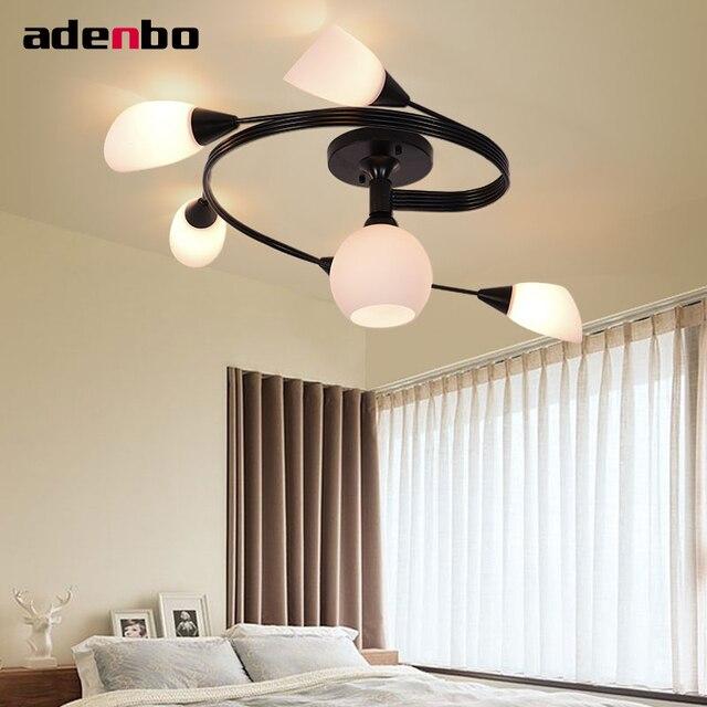 Europäische Country Style Schwarz Eisen Deckenleuchten FÜHRTE  Deckenbeleuchtungskörper Spirale Lampe Mit Glasschirm Für Esszimmer