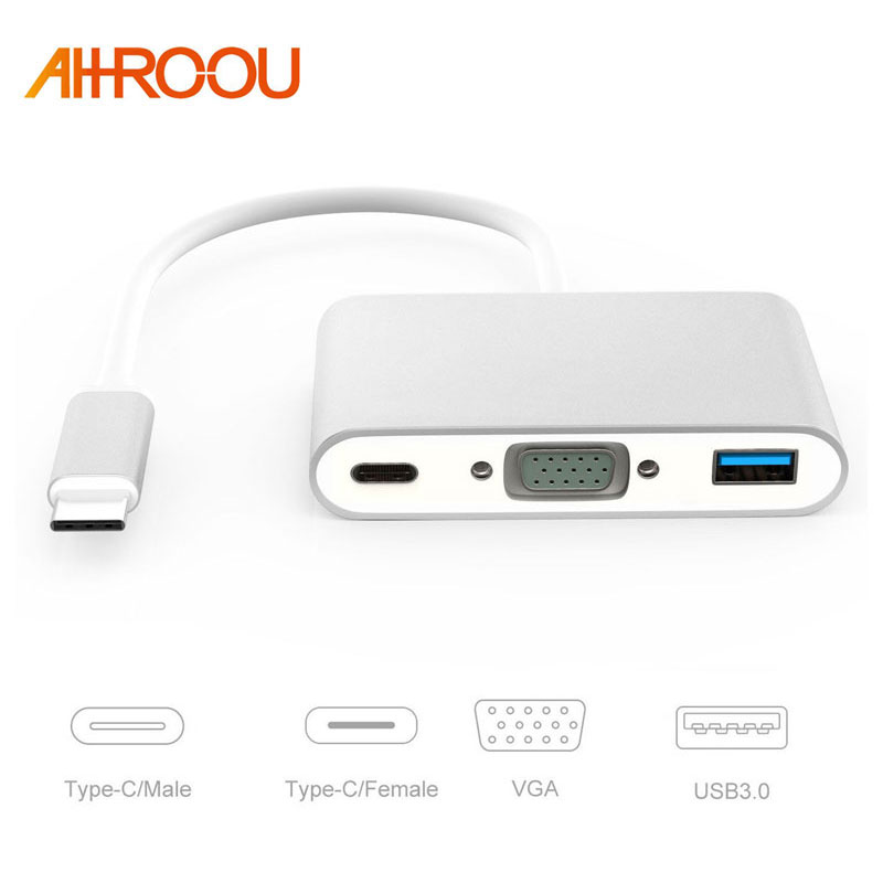 New USB 3.1 Type C USB-C to VGA Female Adapter Cable type C to HDMI USB For New Macbook 12 inch Chromebook Pixel Lumia 950XL
