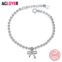 Real 925 Sterling Silver Butterfly Bow-knot Pendant Charm bead Bracelets for Women Pure Silver 925 Jewelry Lovers Gifts 925 pure silver christmas bells silver pendants