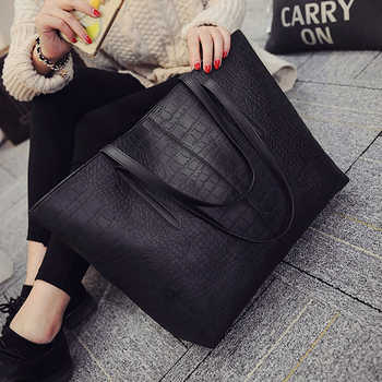 2019 Big New Women Shoulder Bags Alligator Ladies Leather Bags Casual women zipper handbags Famous Brands Totes black red colors - DISCOUNT ITEM  62% OFF All Category