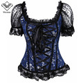 Wechery Sexy Corselet Corset Black Bluer Corsets and Bustiers Slimming Corsage Korsett for Women Sexy Lingerie Shaperwear Bodice