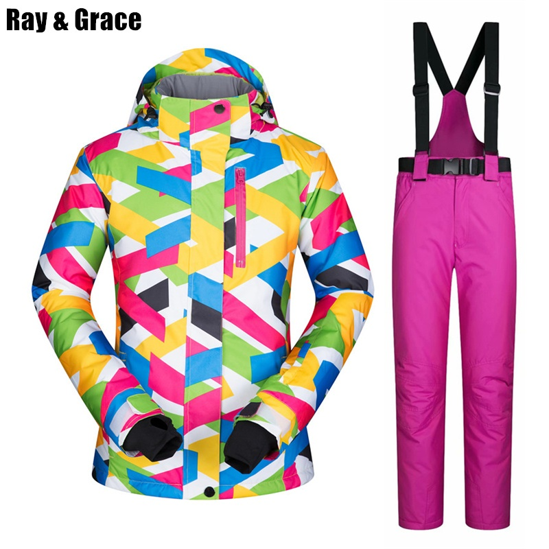 RAY GRACE Ski Suit Women Winter Snow Clothing Waterproof Windproof Jacket Pants Outdoor Winter For Female Snowboard Set ClothingRAY GRACE Ski Suit Women Winter Snow Clothing Waterproof Windproof Jacket Pants Outdoor Winter For Female Snowboard Set Clothing