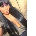 130% плотность человеческих волос парик с взрыва прямо 1b # remy девственницы волос парик фронта шнурка длинные китайский взрыва парики с естественной линии роста волос