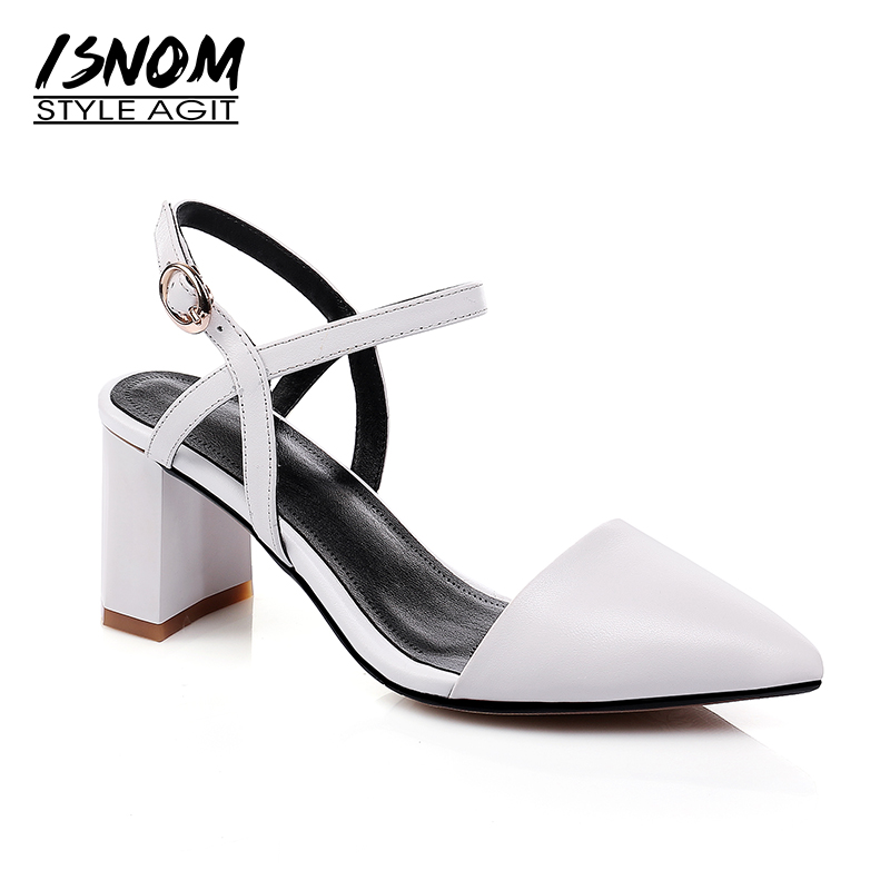 ISNOM 2018 Ladies Sandals Genuine Leather White High Heel Sandals Pointy toe Female Dress Shoes Women Summer Footwear Big Size mmnun 2017 boys sandals genuine leather children sandals closed toe sandals for little and big sport kids summer shoes size26 31