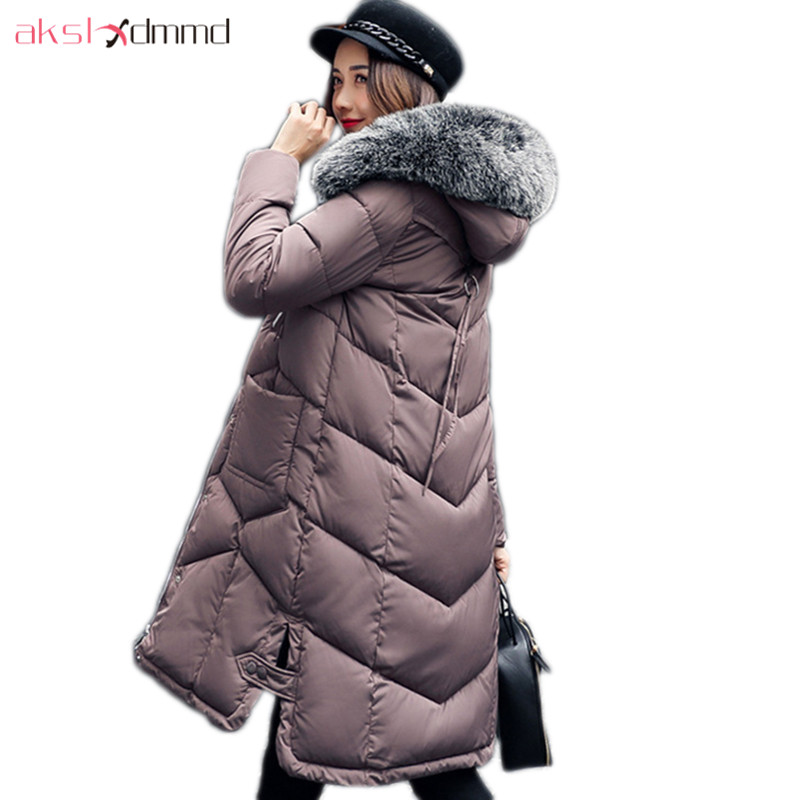 AKSLXDMMD Parkas Mujer Overcoat 2017 New Women Winter Jacket Fashion Thick Slim Fur Collar Hooded Long Coat Female LH1111 akslxdmmd fashion casual winter thick hooded jacket 2017 new parka women parttern letters mid long coat female overcoat lh1227