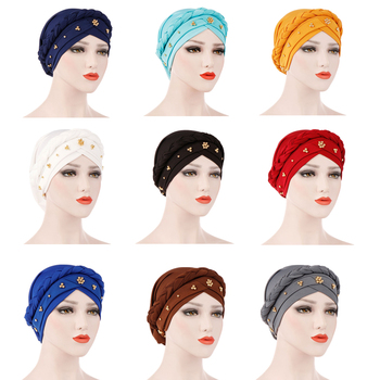 12PCS Women Hair Care Islamic Scarf Milk Silk Muslim Hijab Beads Braid Wrap Stretch Turban Hat Chemo Cap Head Wrap Random Color