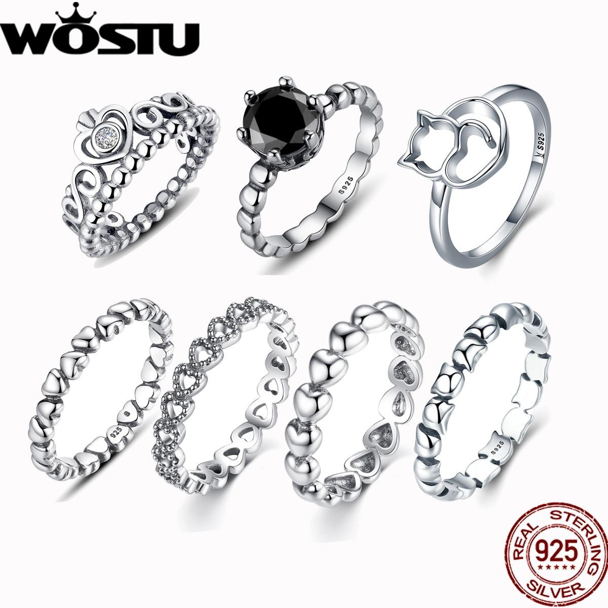 Wedding-Rings Crown 925-Silver Hot-Sale Women European Original Jewelry Crystal