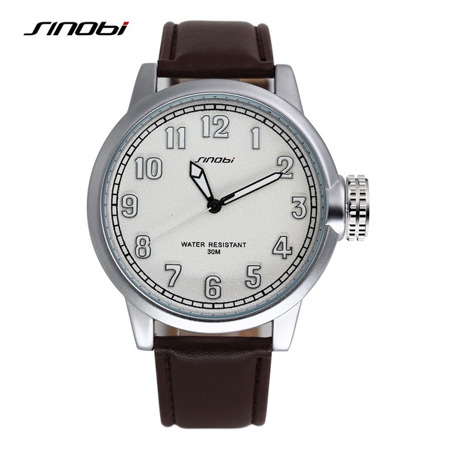 New SINOBI Oversized Men Watch Man Brand Leather Quartz Wristwatch Male Big Sports Wristwatch Gents luminous Casual Clock hours